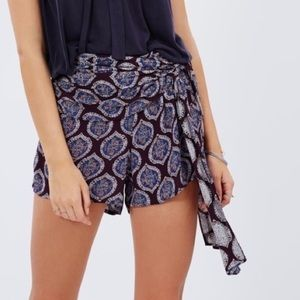Free People All A Dream Paisley Tie Shorts